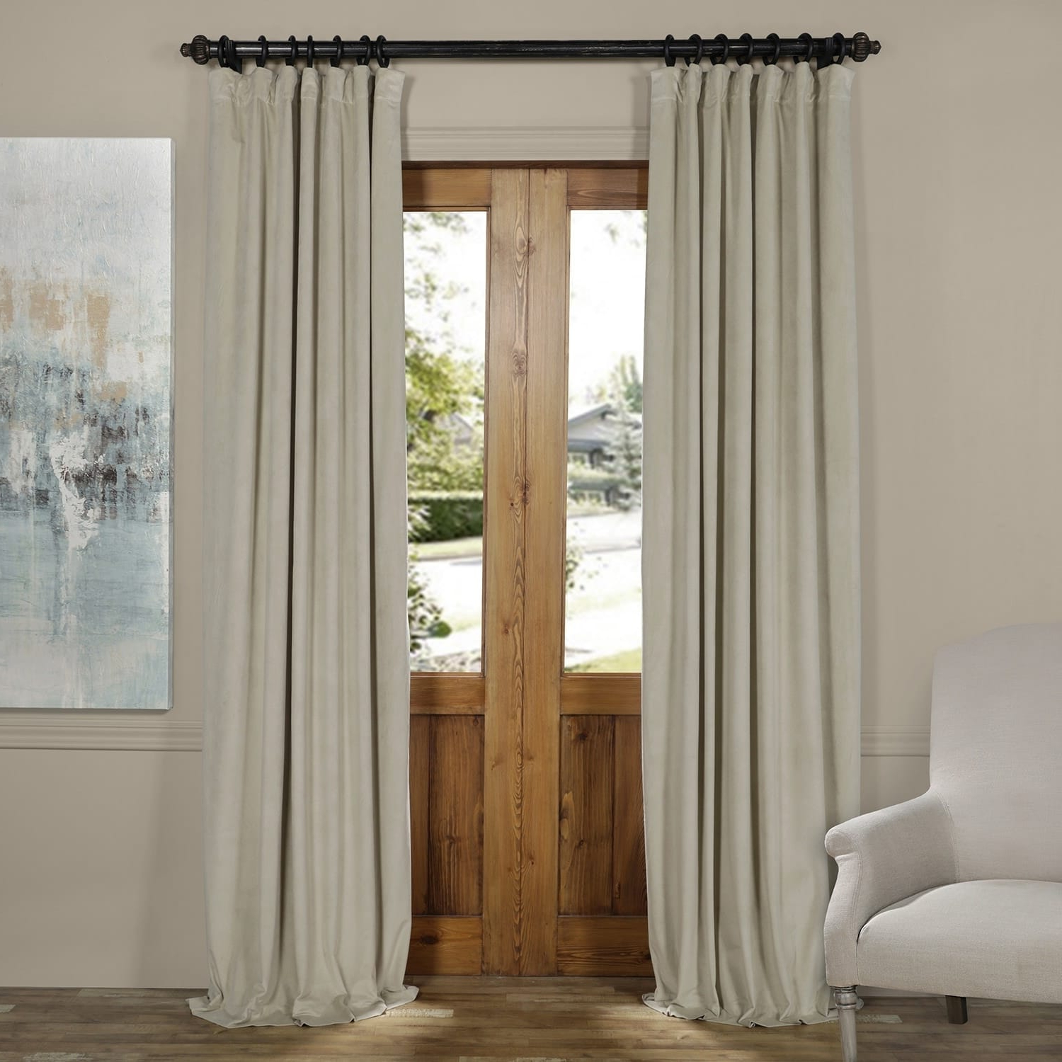 Favorite Exclusive Fabrics Signature Wide Width Blackout Velvet Within Signature Pinch Pleated Blackout Solid Velvet Curtain Panels (View 4 of 20)