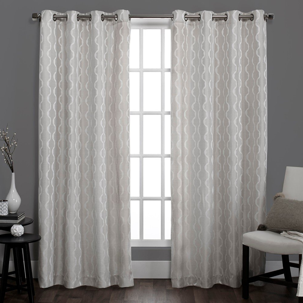 Favorite Exclusive Home Baroque Textured Linen Look Jacquard Grommet Top Curtain  Panel Pair, Dove Grey, 54X84 Intended For Baroque Linen Grommet Top Curtain Panel Pairs (Gallery 1 of 20)