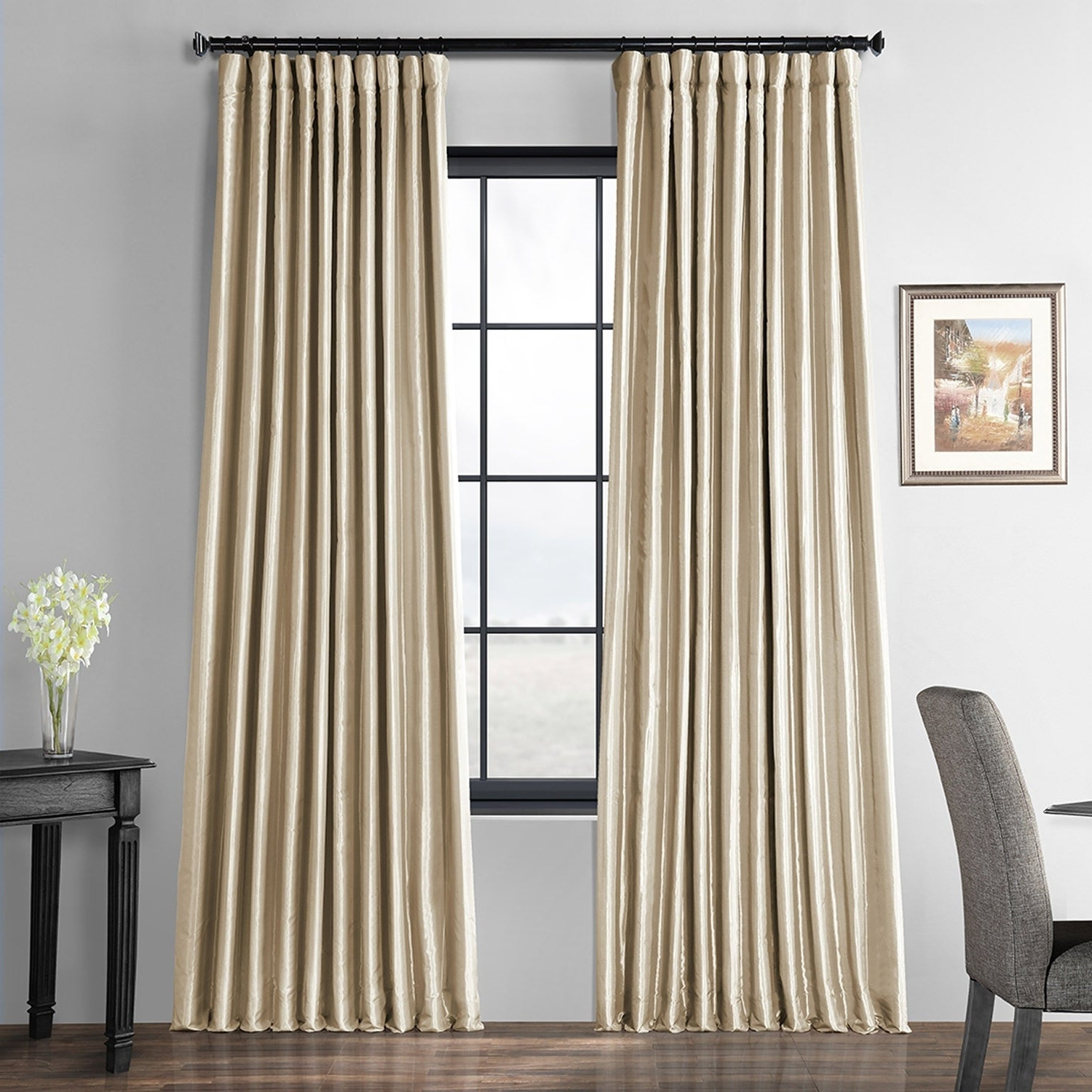 Favorite Faux Linen Extra Wide Blackout Curtains In Exclusive Fabrics Glazed Parchment Blackout Extra Wide Faux Silk Taffeta  Curtain (View 10 of 21)