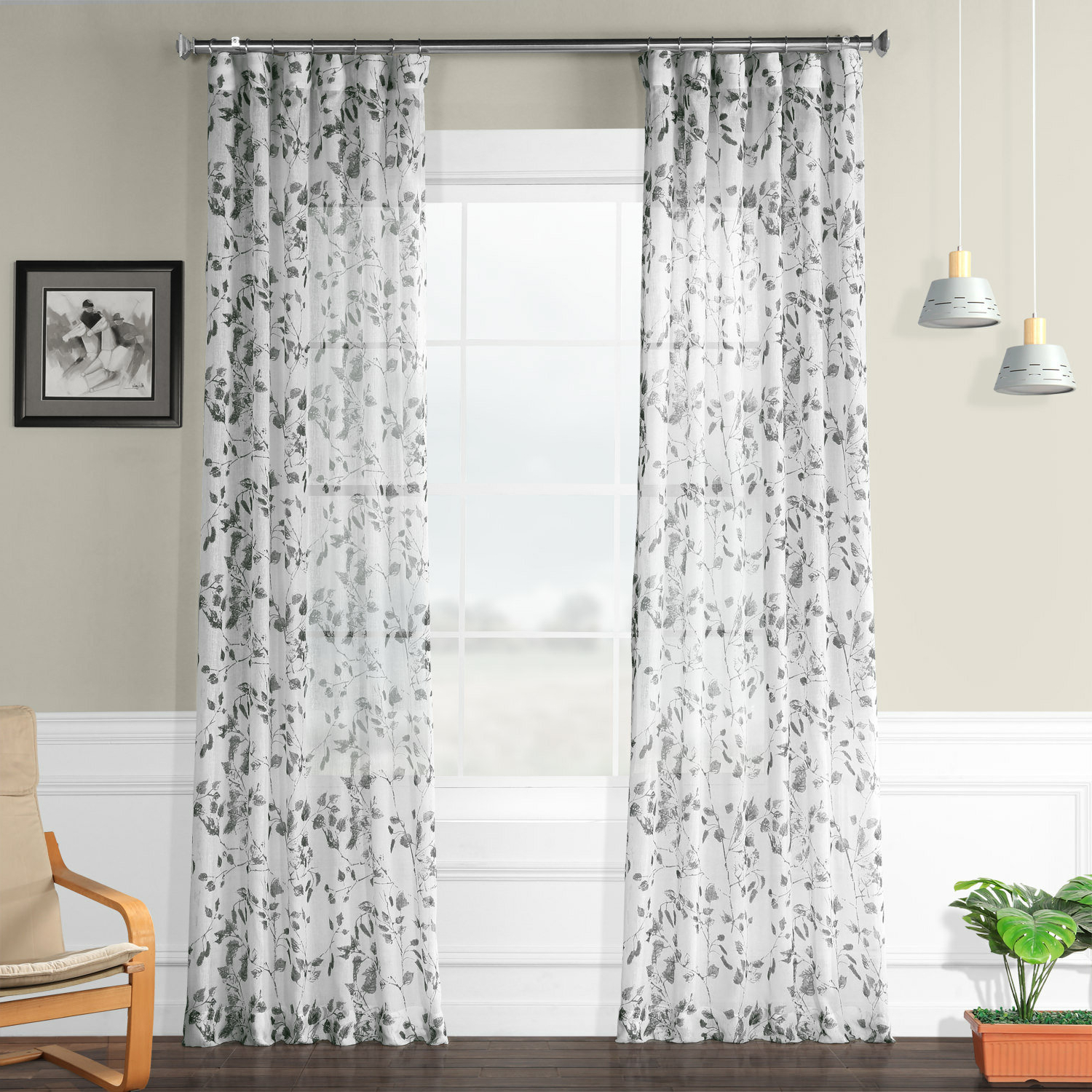 Favorite Grey Printed Curtain Panels Pertaining To Haynie Printed Faux Linen Polyester Single Curtain Panel (View 20 of 20)