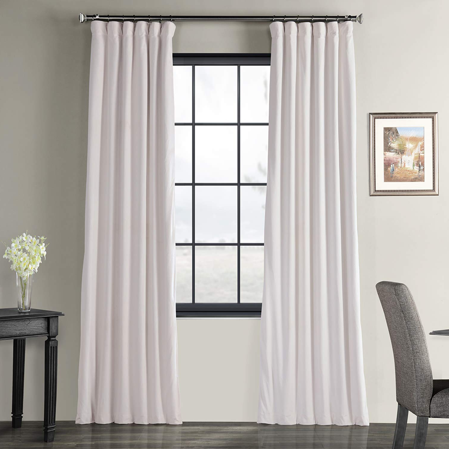 Favorite Half Price Drapes Vpch 110602 108 Signature Blackout Velvet Curtain, Off  White, 50 X 108 Inside Signature Blackout Velvet Curtains (View 6 of 20)