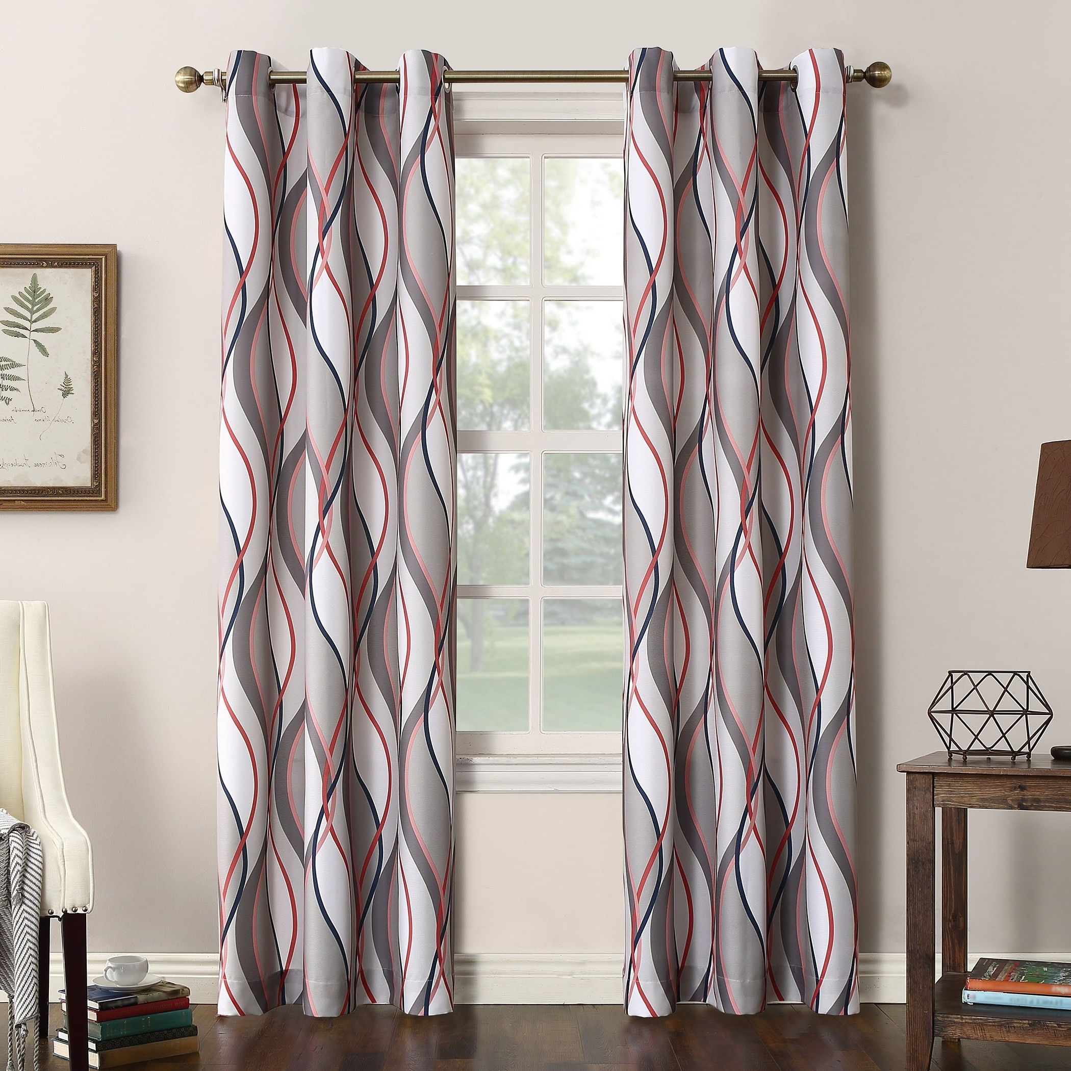 Favorite Intersect Grommet Woven Print Window Curtain Panels For No (View 2 of 20)