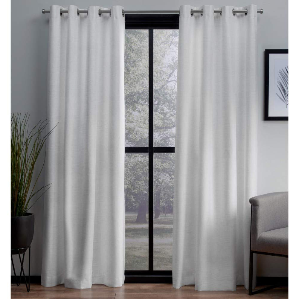 Favorite London Blackout Panel Pair Throughout Exclusive Home Curtains London Textured Linen Thermal Window Curtain Panel  Pair With Grommet Top, 54X96, Winter White, 2 Piece (View 2 of 20)