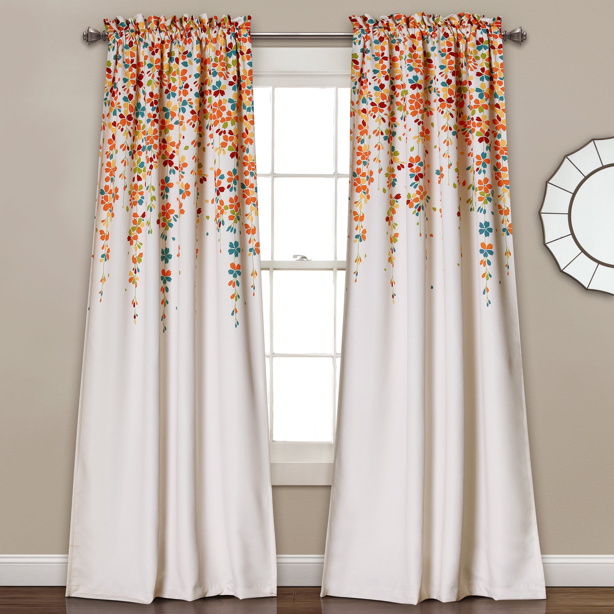 Favorite Lush Decor Weeping Flowers Room Darkening Curtain Panel Pair Regarding Weeping Flowers Room Darkening Curtain Panel Pairs (View 2 of 20)