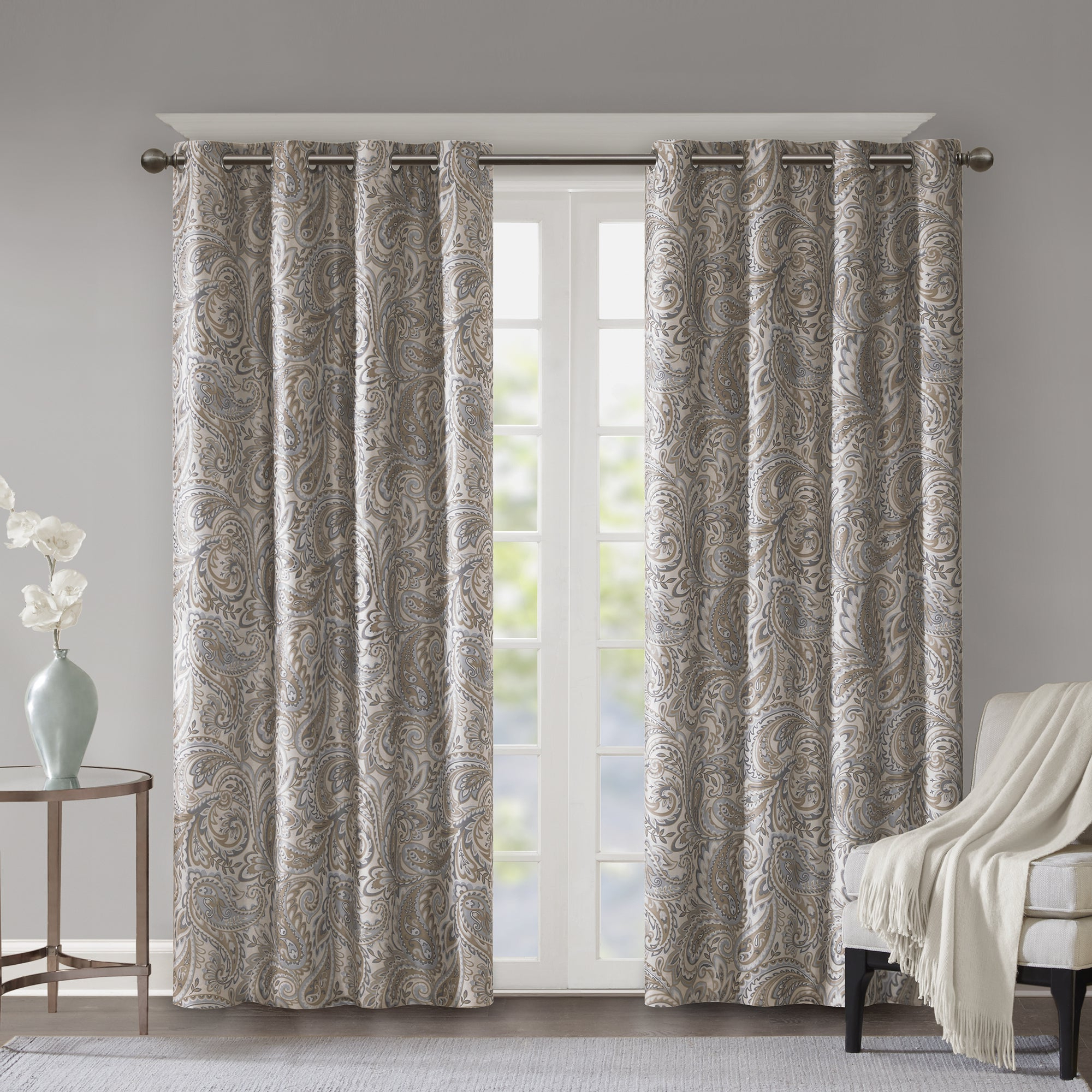 "Favorite Luxury Collection Faux Leather Blackout Single Curtain Panels Throughout Sunsmart Dahlia Paisley Printed Total Blackout Single Window Curtain Panel  In Grey – 95"" (As Is Item) (View 4 of 20)"