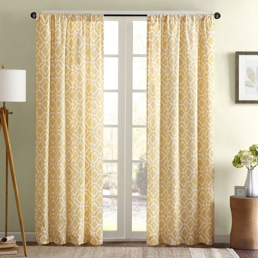 Favorite Madison Park 1 Panel Ella Window Curtain, Yellow, 42x63 In Throughout Ella Window Curtain Panels (View 17 of 20)