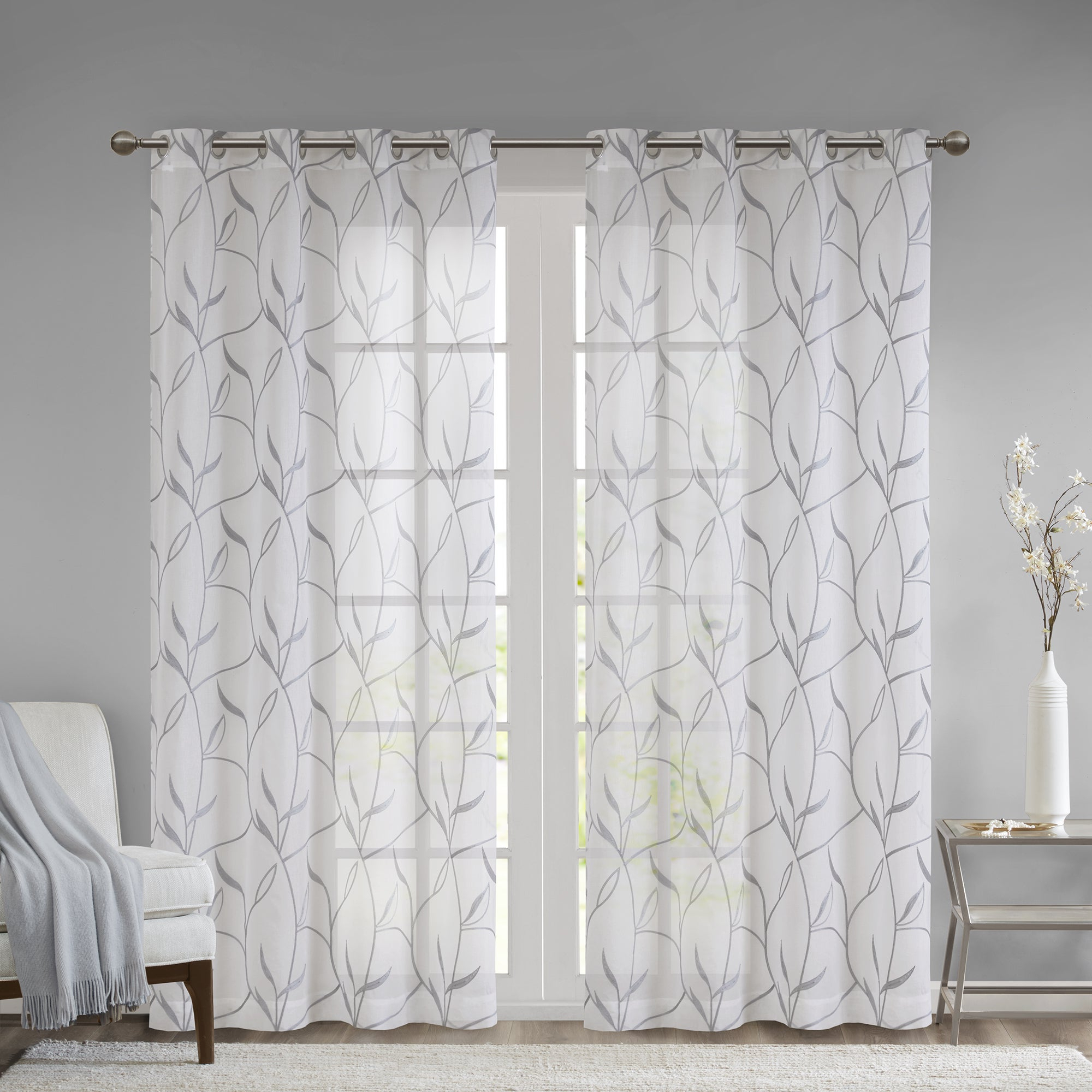 Favorite Madison Park Dawn Leaf Embroidered Sheer Single Curtain Panel For Vina Sheer Bird Single Curtain Panels (View 7 of 20)