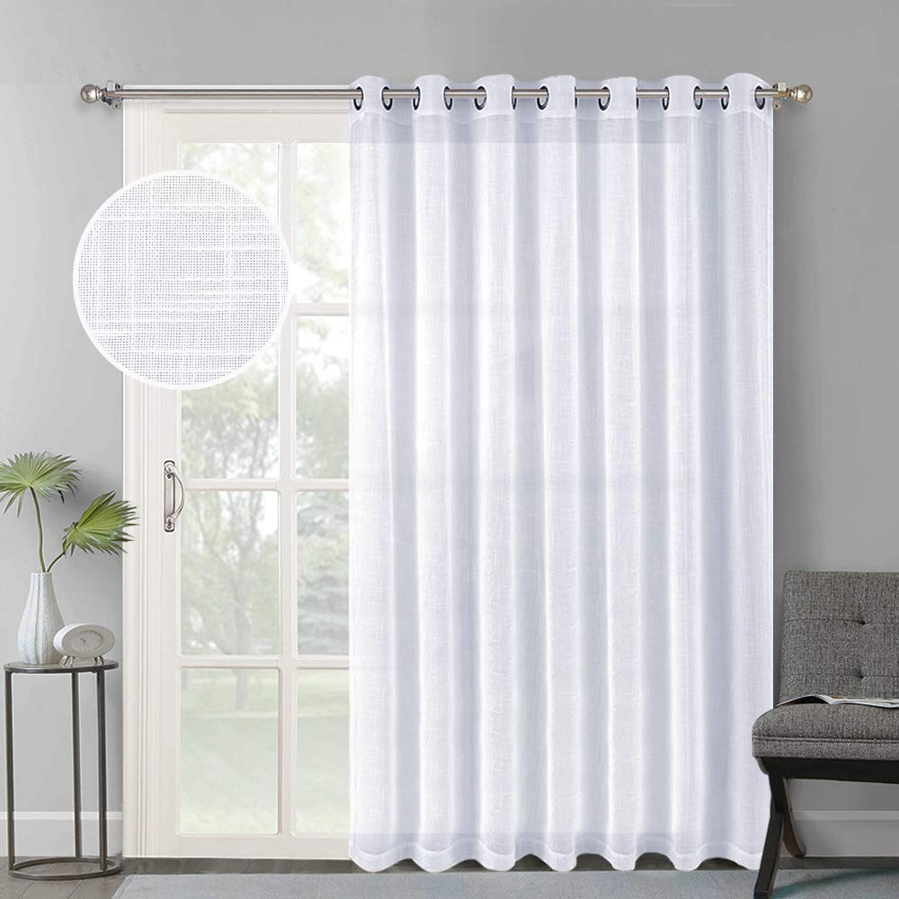 Favorite Nicetown Linen Like Patio Door Curtains – Extra Wide Grommet Top Semi Voile Drape Sheer Panels For Sliding Glass Door, White, W100 X L84, 1 Panel With Extra Wide White Voile Sheer Curtain Panels (View 18 of 20)