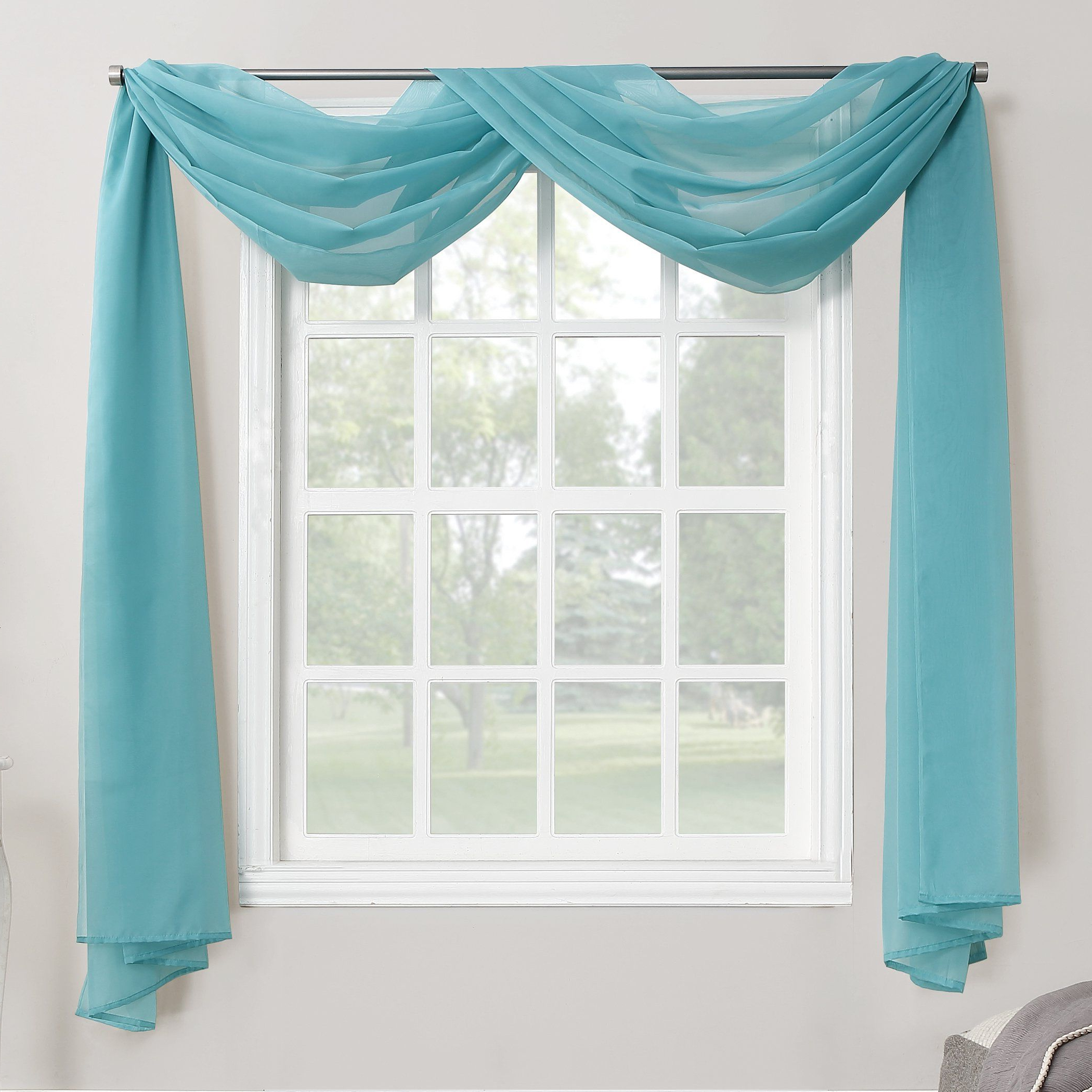 "Favorite No. 918 Emily Sheer Voile Window Scarf, 59"" X 216"", Aegean Within Kaylee Solid Crushed Sheer Window Curtain Pairs (Gallery 14 of 20)"