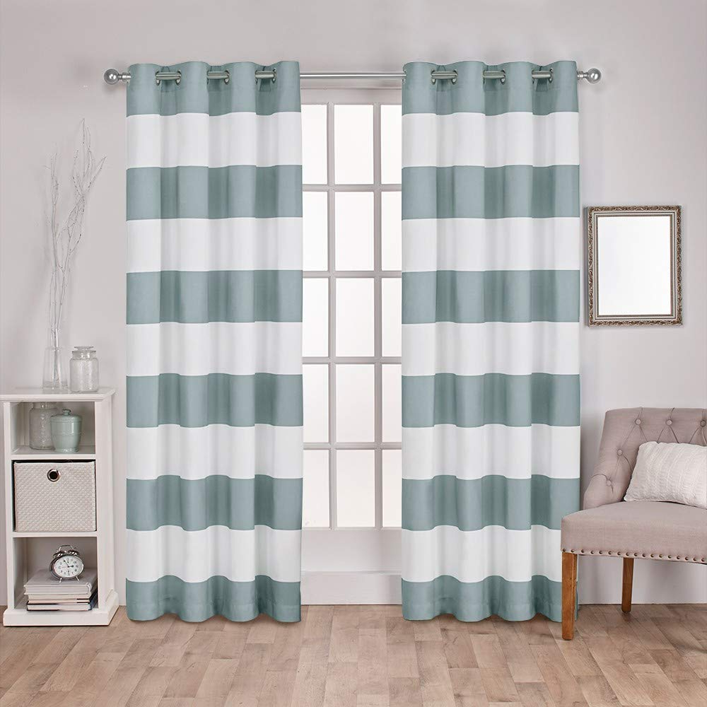 Favorite Ocean Striped Window Curtain Panel Pairs With Grommet Top Pertaining To Exclusive Home Curtains Surfside Cabana Stripe Cotton Window Curtain Panel  Pair With Grommet Top, 54X96, Seafoam, 2 Piece (Gallery 8 of 20)
