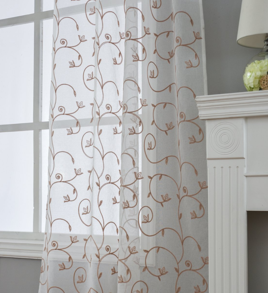 Favorite Overseas Leaf Swirl Embroidered Curtain Panel Pairs For Kotile Sheer Curtains For Living Room Curtain, Floral Embroidered 2 Panels  Grommet Light Filtering Window Curtains For Sliding Glass Door Curtains,  (View 8 of 21)