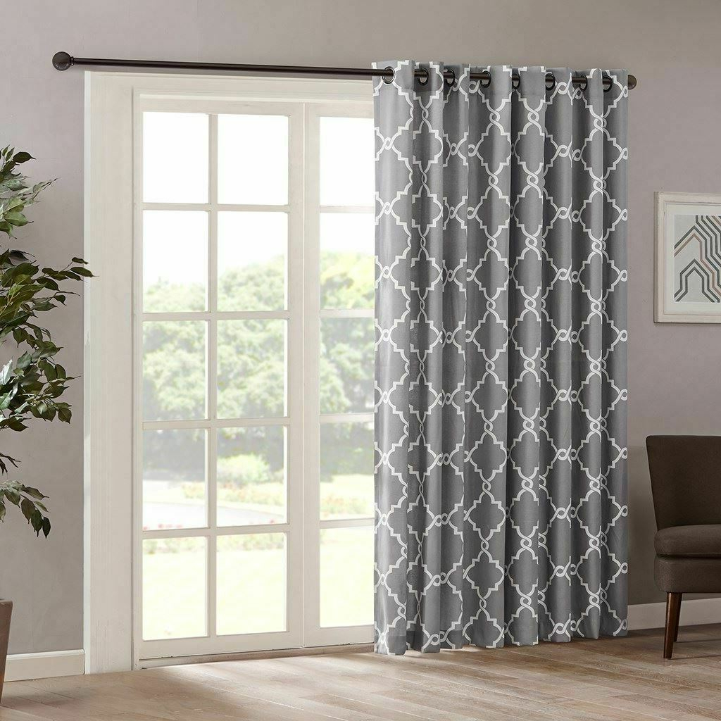 Favorite Patio Pattern Fretwork Beige & Grau Soft Door Curtain 100X84 Throughout Fretwork Print Pattern Single Curtain Panels (View 2 of 20)