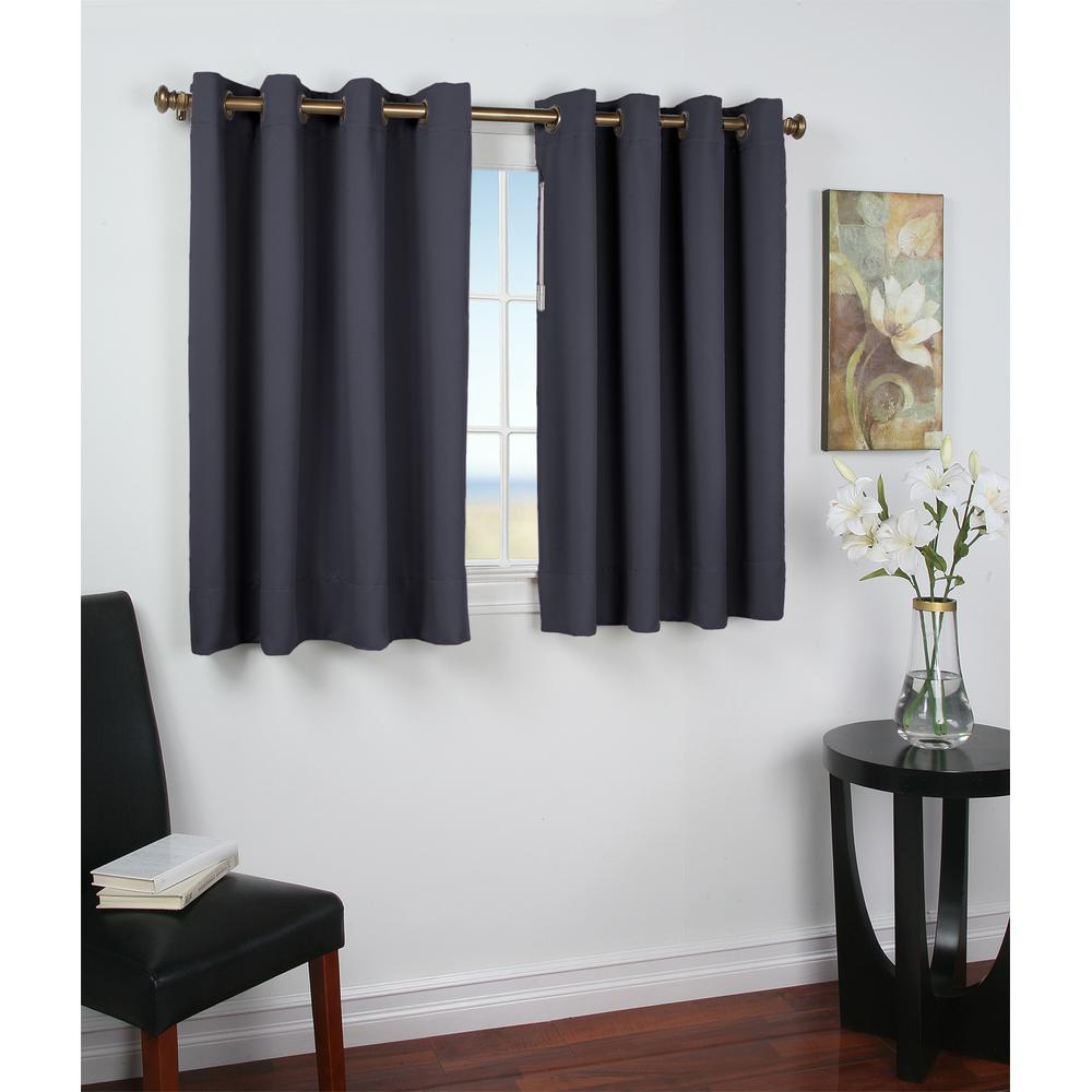 Favorite Ricardo Trading Ultimate Blackout 56 In. W X 45 In. L Polyester Short  Length Blackout Window Panel In Blue For Ultimate Blackout Short Length Grommet Panels (Gallery 1 of 20)