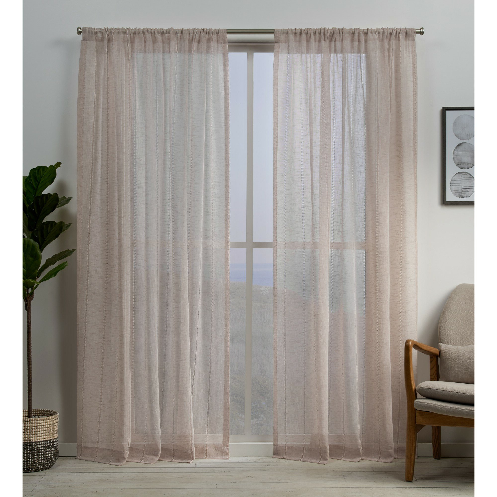 Favorite Rod Pocket Curtain Panels In Mckenna Embellished Solid Sheer Rod Pocket Curtain Panels (View 11 of 20)