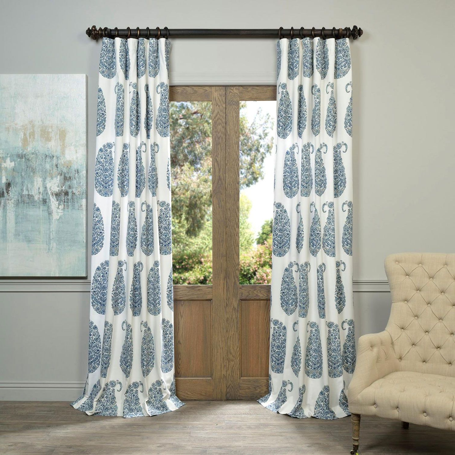 Favorite Sarong Grey Printed Cotton Pole Pocket Single Curtain Panels Intended For Prtw – Popular Pinterest (View 20 of 20)