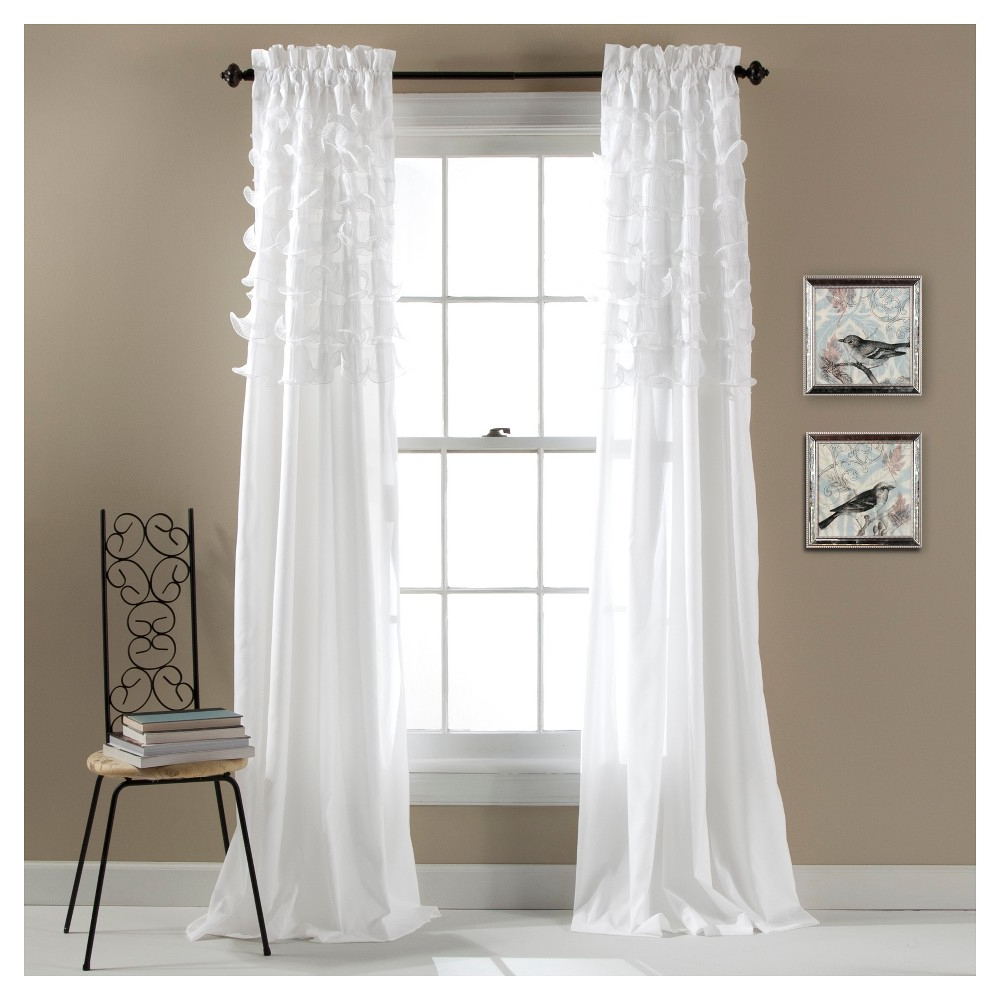 "Favorite Set Of 2 Avery Window Curtain White (84""x54"") – Lush Décor For Lydia Ruffle Window Curtain Panel Pairs (View 16 of 20)"