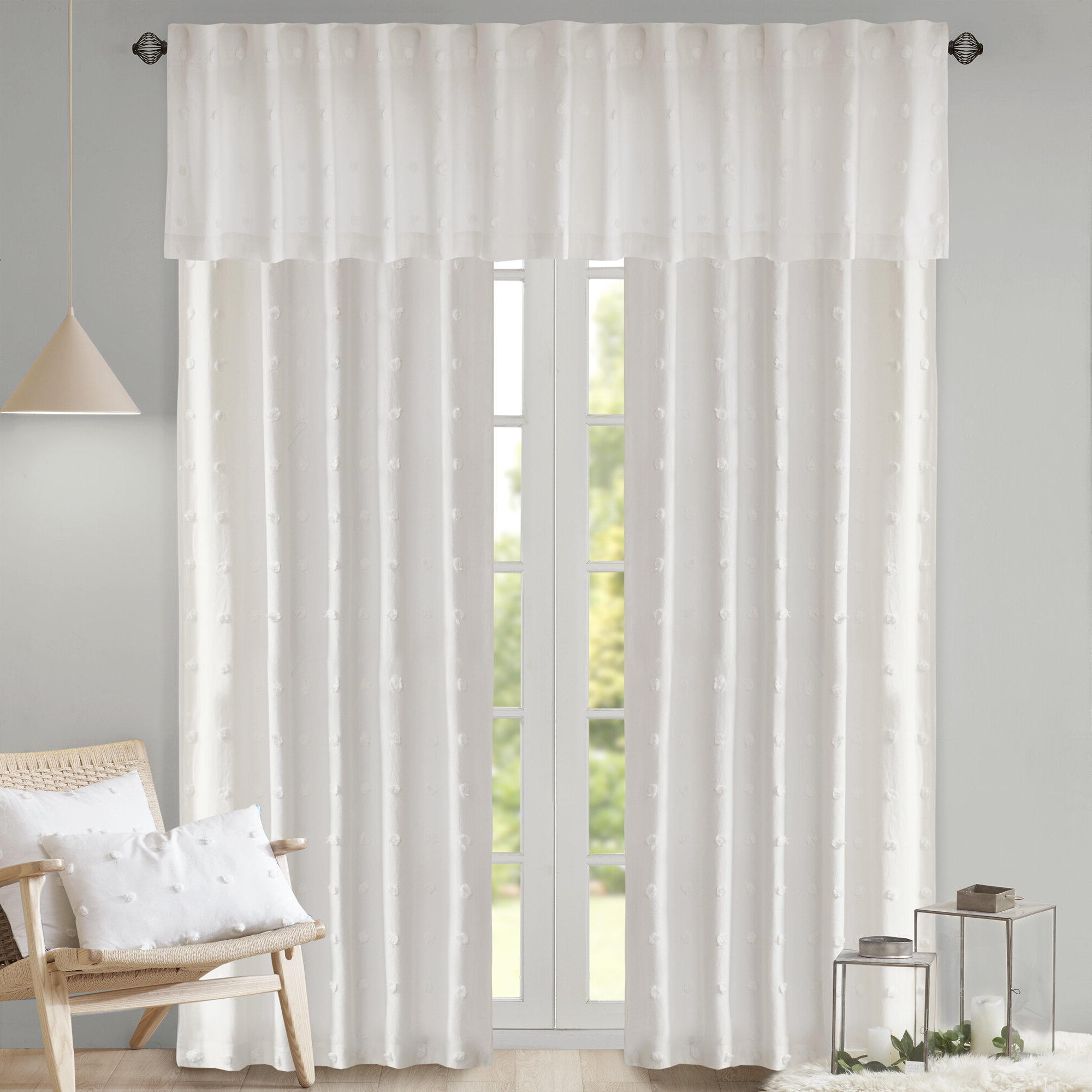 Favorite Solid Cotton Curtain Panels Pertaining To Braunste Cotton Jacquard Pom Pom Window Solid Rod Pocket Single Curtain  Panel (Gallery 10 of 20)