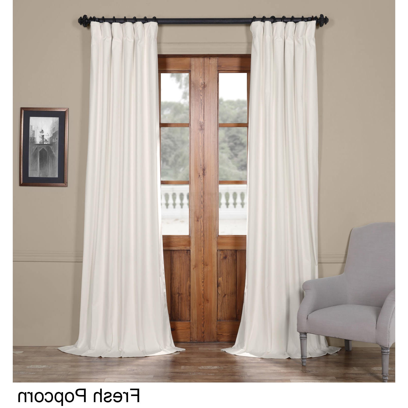 """Favorite Solid Cotton Curtain Panels With Exclusive Fabrics Solid Cotton Curtain Panel 120""""l In Fresh Popcorn (As Is  Item) (Gallery 6 of 20)"""