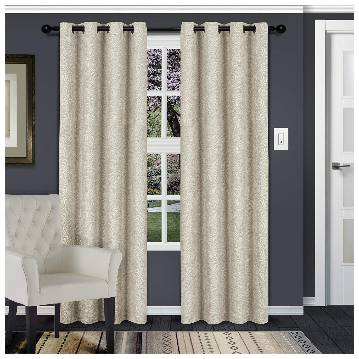 Favorite Superior Leaves Insulated Thermal Blackout Grommet Curtain Panel Pairs Regarding Superior Waverly Blackout Curtain Set Of 2, Thermal Insulated Panel Pair  With Grommet Top Header, Beautiful Embossed Wave Room Darkening Drapes, (View 5 of 20)