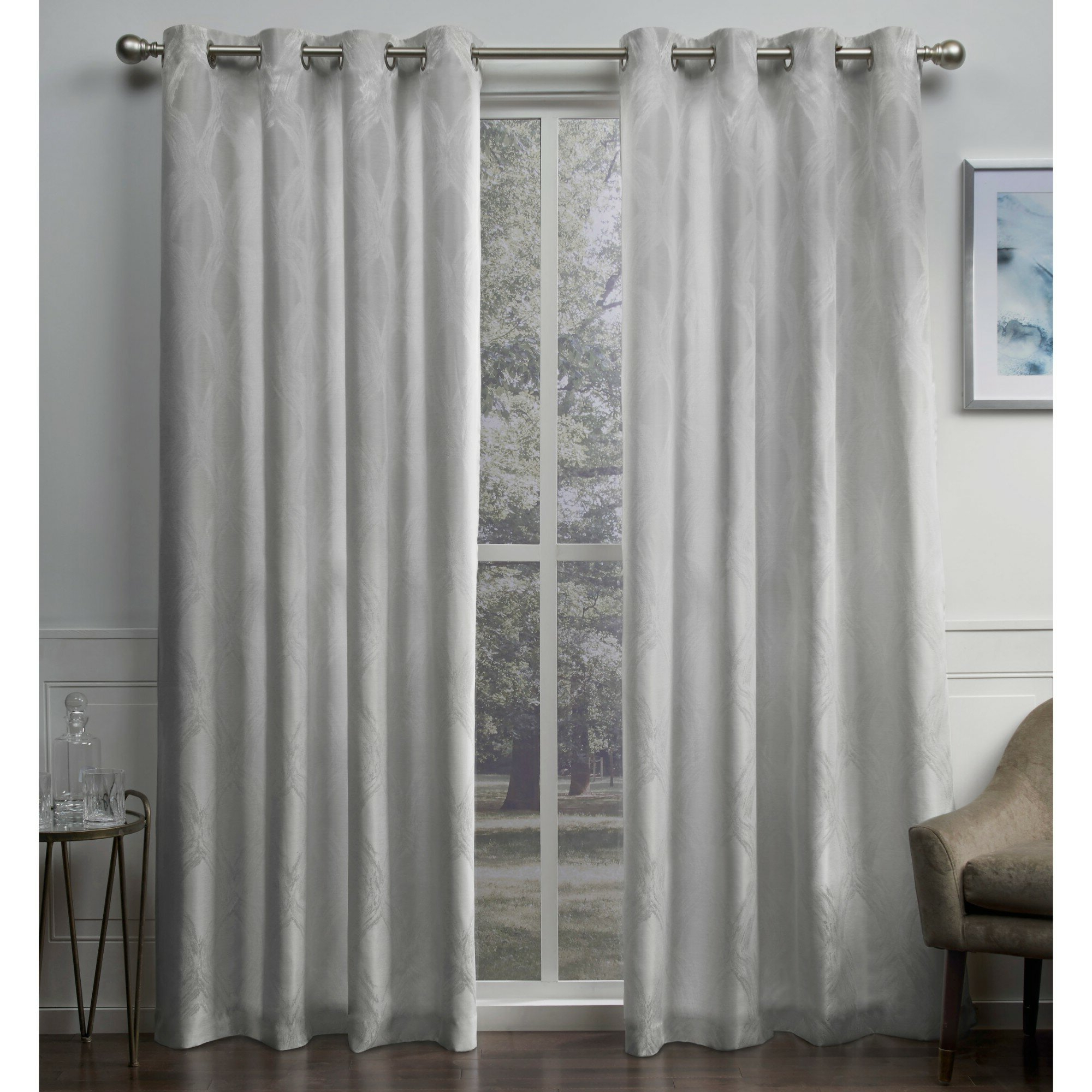 Favorite Vallejo Textured Linen Jacquard Geometric Grommet Curtain Panels Regarding Thermal Textured Linen Grommet Top Curtain Panel Pairs (Gallery 14 of 20)