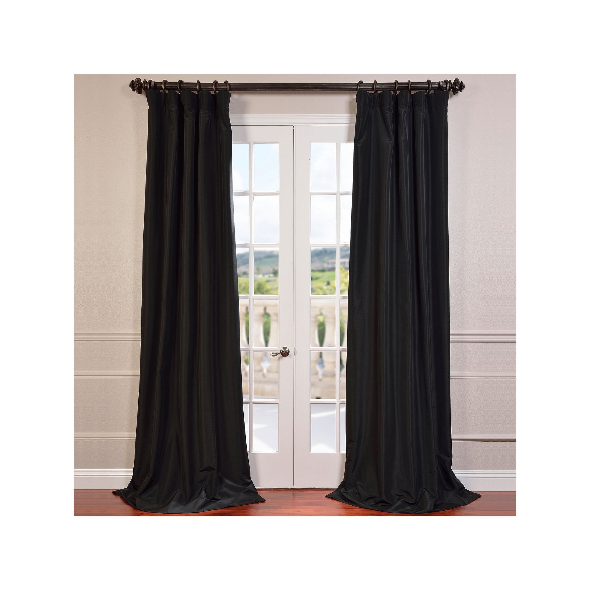Favorite Warm Black Velvet Single Blackout Curtain Panels Pertaining To Eff Blackout 1 Panel Faux Silk Taffeta Window Curtain (Gallery 12 of 20)