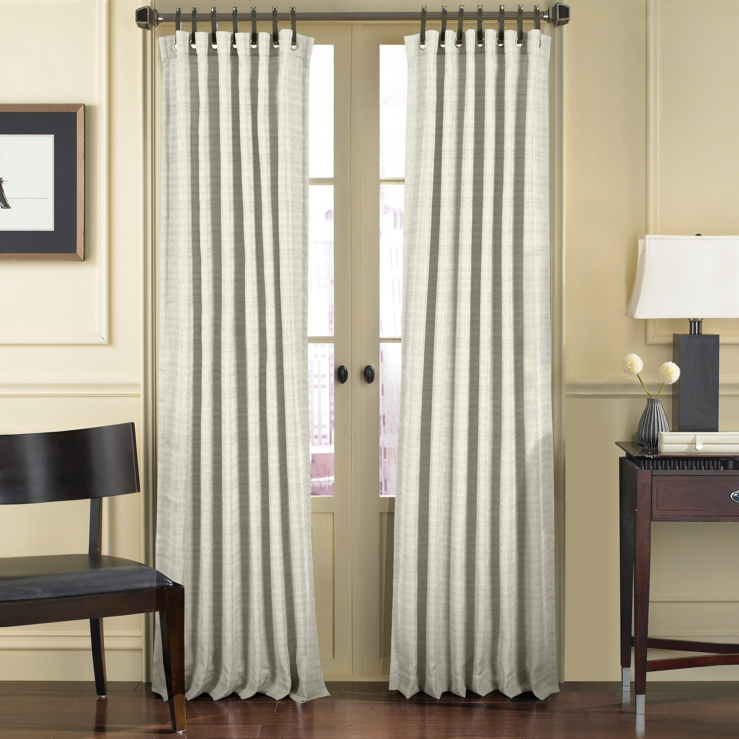 Five Queens Court Charlie Window Panel With Leather Tab Top Inside Well Liked Luxury Collection Faux Leather Blackout Single Curtain Panels (View 5 of 20)