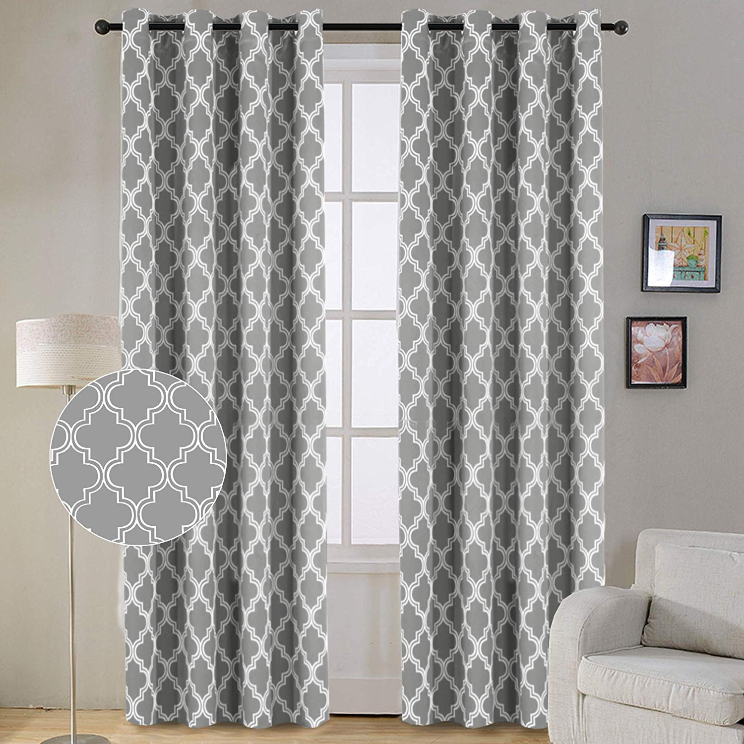 Flamingo P Modern Moroccan Geometric Decor Curtains Print Thermal Insulated Blackout Curtains For Living Room 52w X 84l Inch Gray 1 Pair With Fashionable Geometric Print Textured Thermal Insulated Grommet Curtain Panels (View 7 of 20)