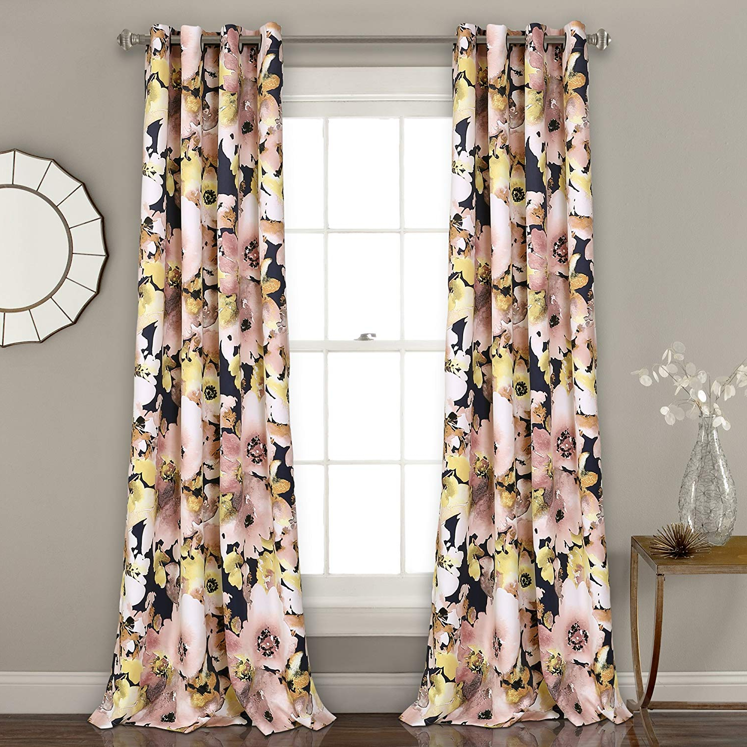 "Floral Pattern Room Darkening Window Curtain Panel Pairs Intended For Best And Newest Lush Decor 16t002398 Floral Watercolor Room Darkening Window Curtain Panel Pair, 84"" X 52"", Navy (View 18 of 20)"