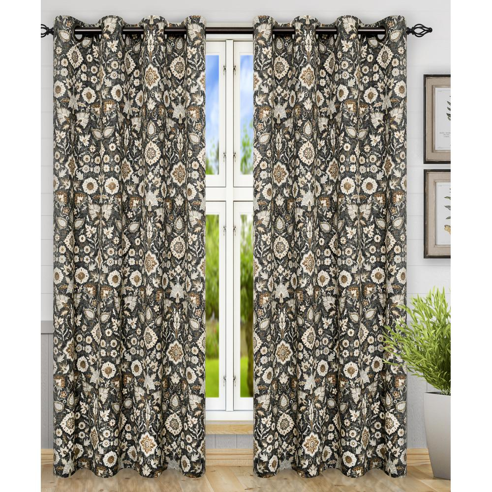 Floral Pattern Room Darkening Window Curtain Panel Pairs Pertaining To Well Known Adelle Black Cotton Grommet Top Panel Pair – 84 In. W X 84 In (View 15 of 20)