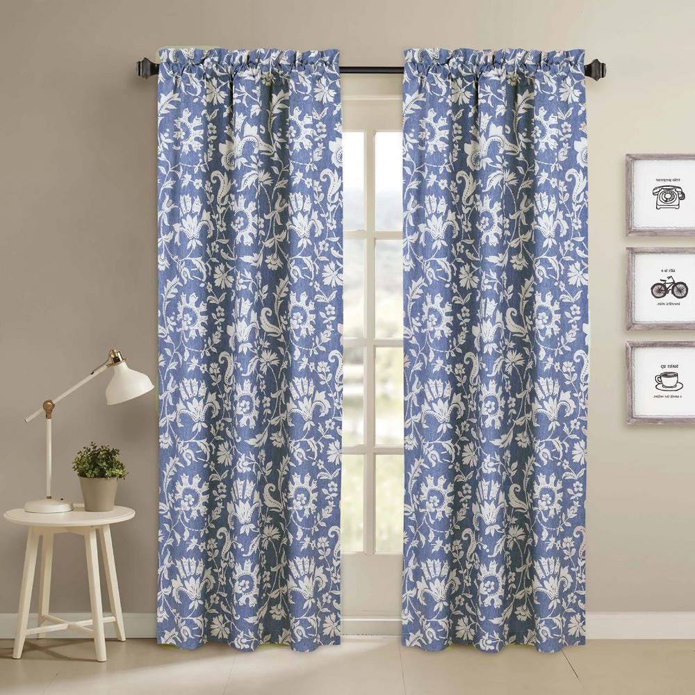 Floral Pattern Room Darkening Window Curtain Panel Pairs With Regard To 2021 Nouvelle Home Porcelain Blue And White Window Pair Panels – 84 In. L X 40 In (View 20 of 20)