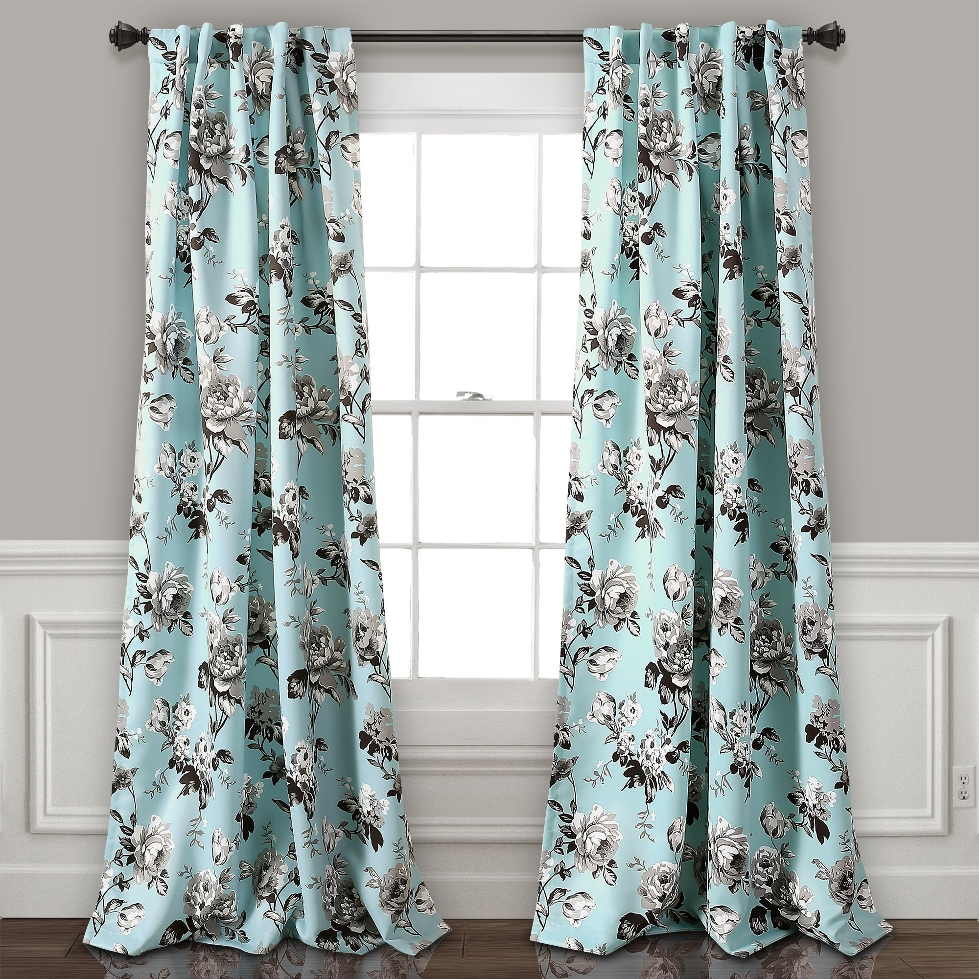 Featured Photo of Floral Pattern Room Darkening Window Curtain Panel Pairs