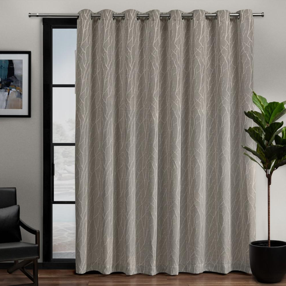 Forest Hill Woven Blackout Grommet Top Curtain Panel Pairs Regarding Most Recent Exclusive Home Curtains Forest Hill Patio 108 In. W X 84 In. L Woven  Blackout Grommet Top Curtain Panel In Natural (1 Panel) (Gallery 9 of 20)