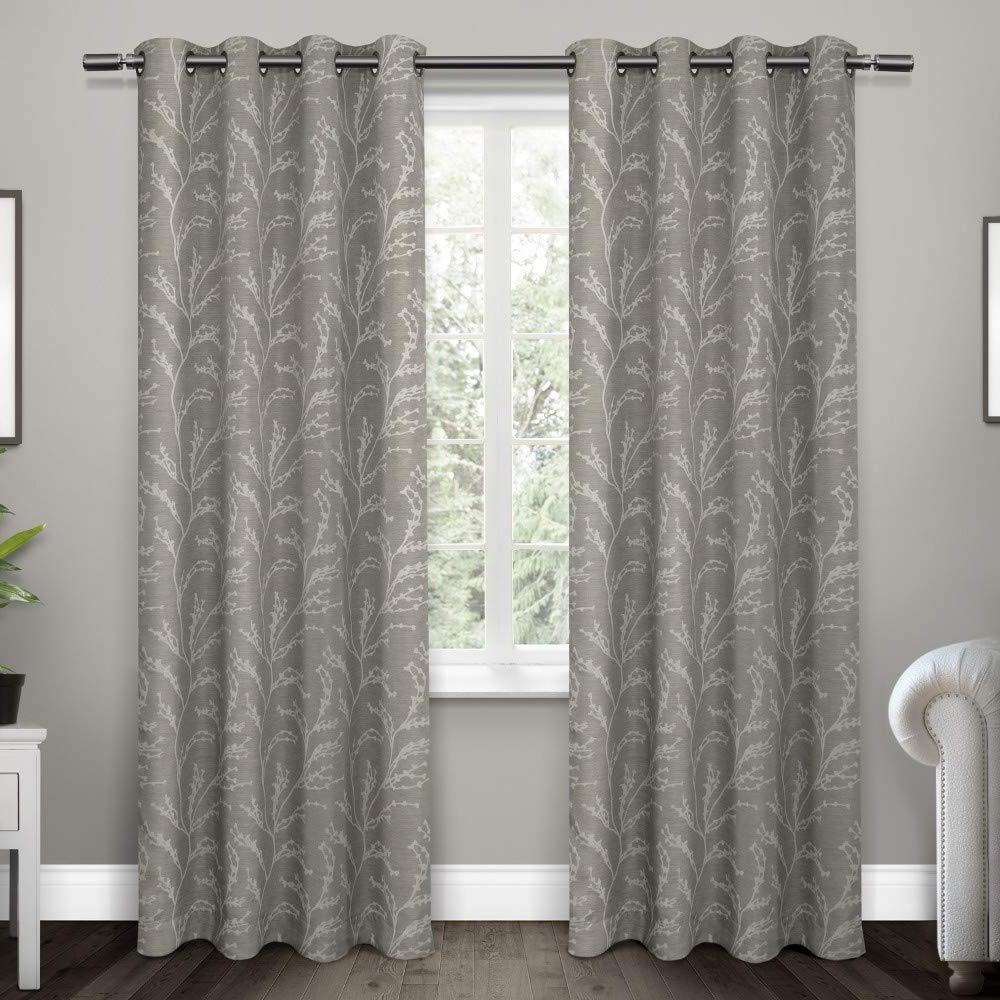 Forest Hill Woven Blackout Grommet Top Curtain Panel Pairs Throughout Newest Exclusive Home Kilberry Woven Blackout Grommet Top Curtain Panel Pair, Ash Grey, 52x (View 20 of 20)
