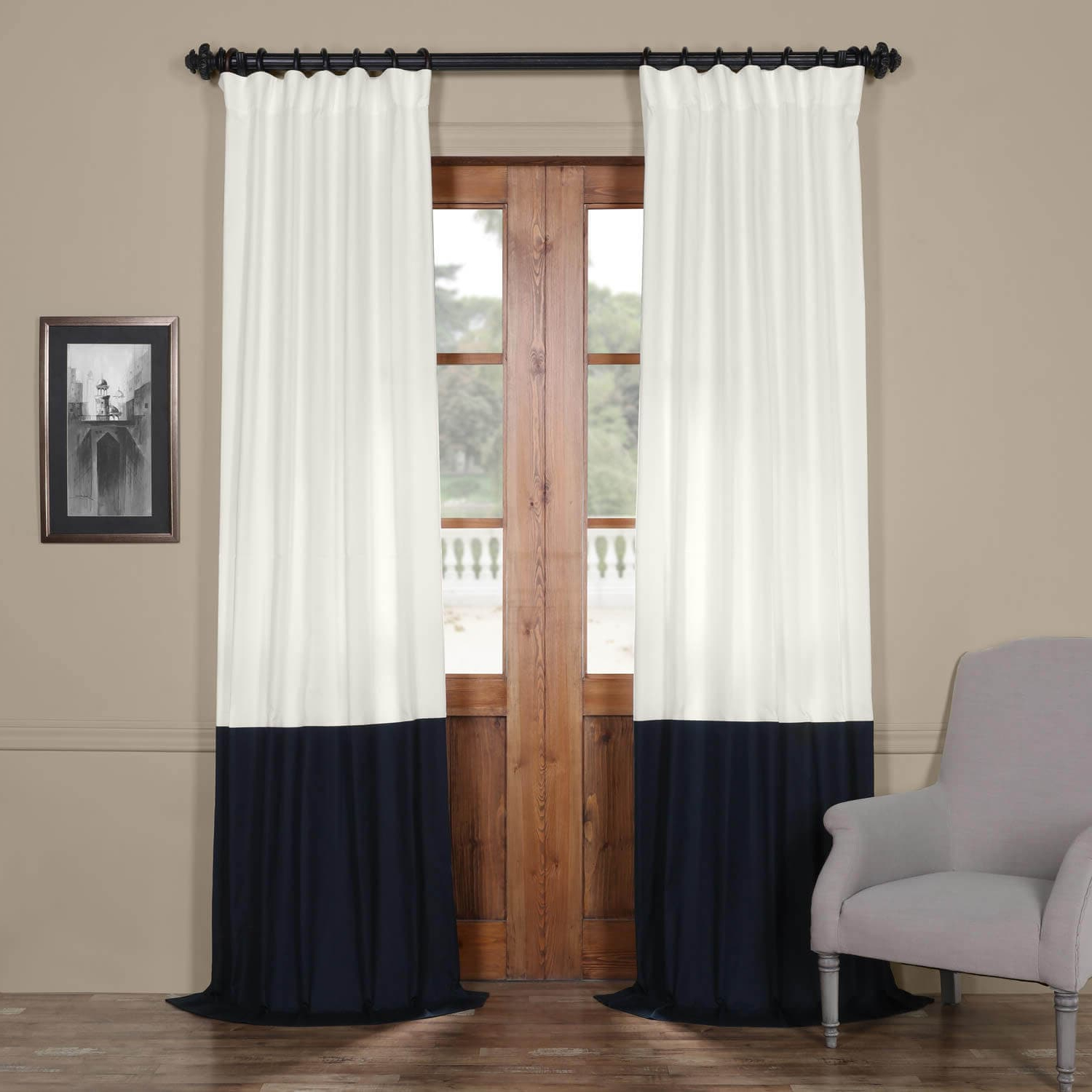 Fresh Popcorn And Polo Navy Horizontal Colorblock Panama Curtain For Newest Vertical Colorblock Panama Curtains (Gallery 8 of 20)