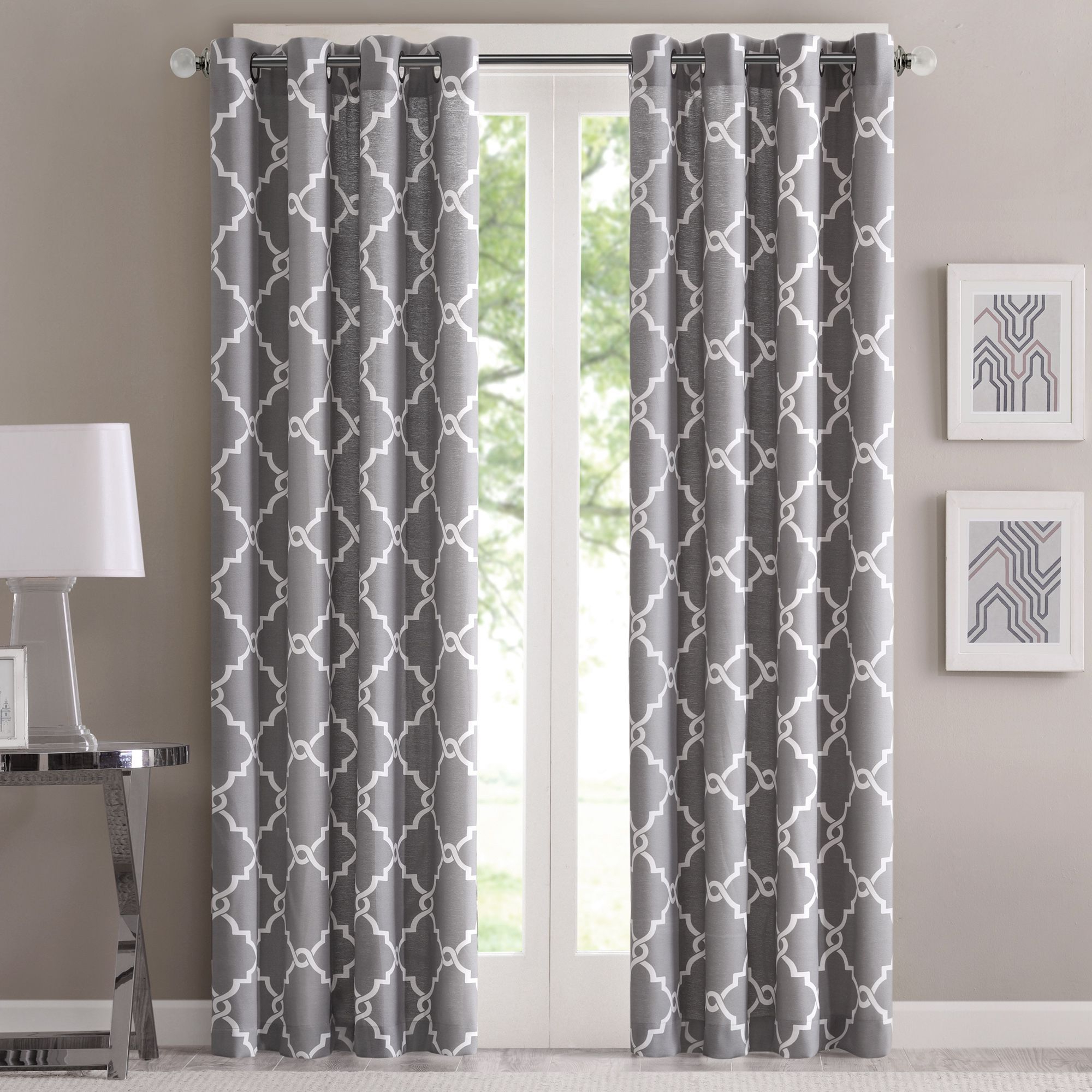 Featured Photo of Fretwork Print Pattern Single Curtain Panels