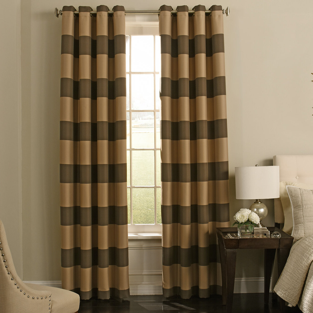 Gaultier Striped Max Blackout Grommet Single Curtain Panel Regarding Recent Emily Sheer Voile Grommet Curtain Panels (View 19 of 20)