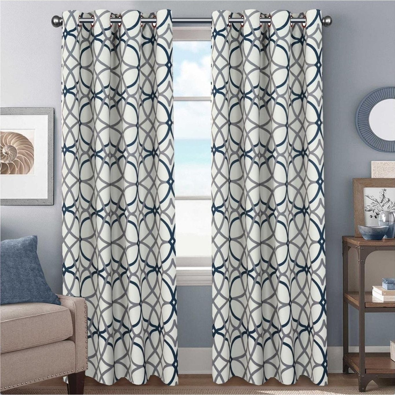 Geometric Linen Room Darkening Window Curtains For 2020 Primebeau Geometric Pattern Blackout Curtain Pair 2 Pack (View 14 of 20)