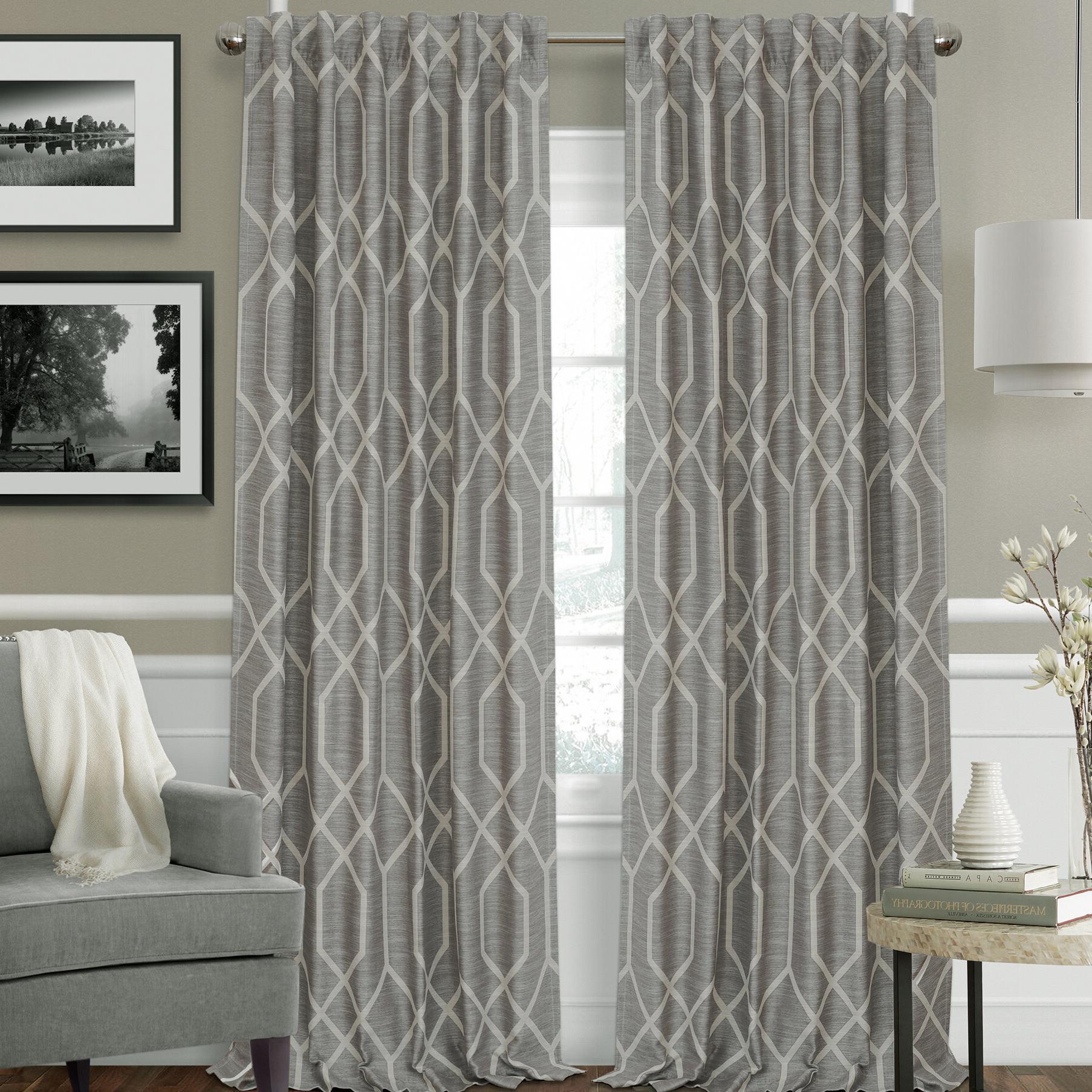 Geometric Linen Room Darkening Window Curtains In Recent Beyer Geometric Room Darkening Rod Pocket Single Curtain Panel (View 7 of 20)