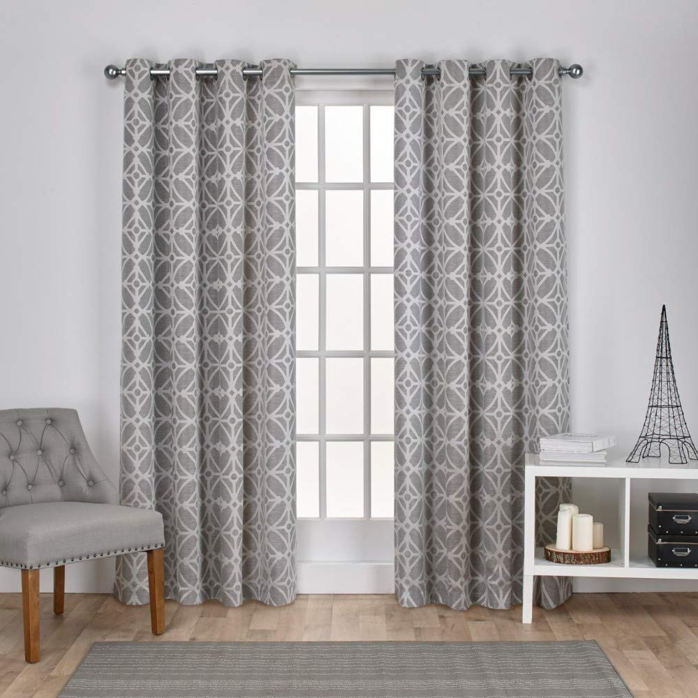 Geometric Linen Room Darkening Window Curtains Intended For Most Recently Released Exclusive Home Curtains Cressy Geometric Textured Linen Jacquard Window Curtain Panel Pair With Grommet Top, 54x84, Ash Grey, 2 Piece (View 5 of 20)