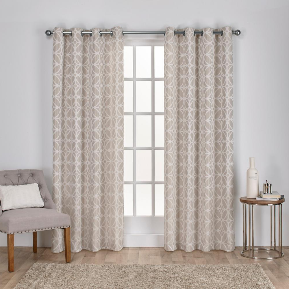 Geometric Linen Room Darkening Window Curtains Within Most Current Cressy Linen Geometric Textured Linen Jacquard Grommet Top Window Curtain (View 3 of 20)