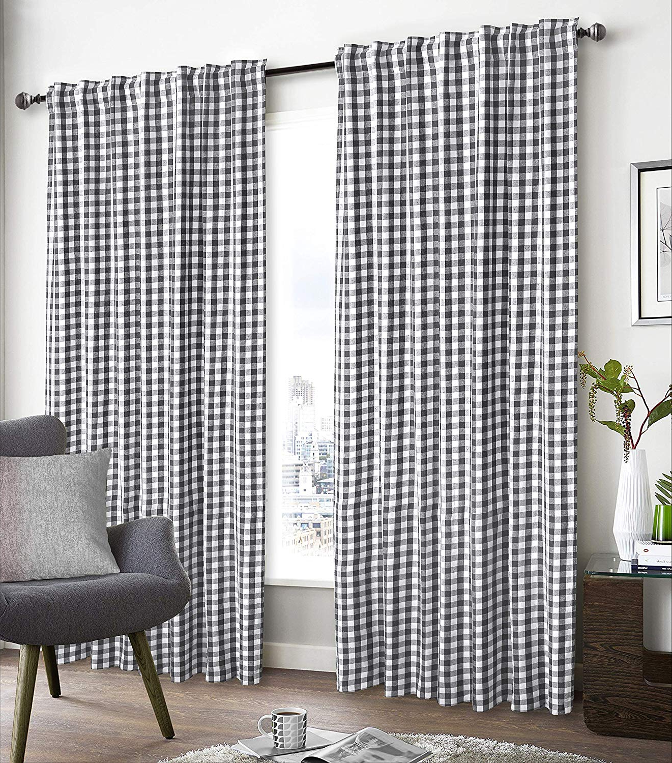 """[%glamburg 2 Pack 100% Cotton Window Curtain Panel 50""""x96"""" Gingham Check Plaid Farmhouse Style Tab Top Curtains Charcoal Within 2020 Grainger Buffalo Check Blackout Window Curtains
