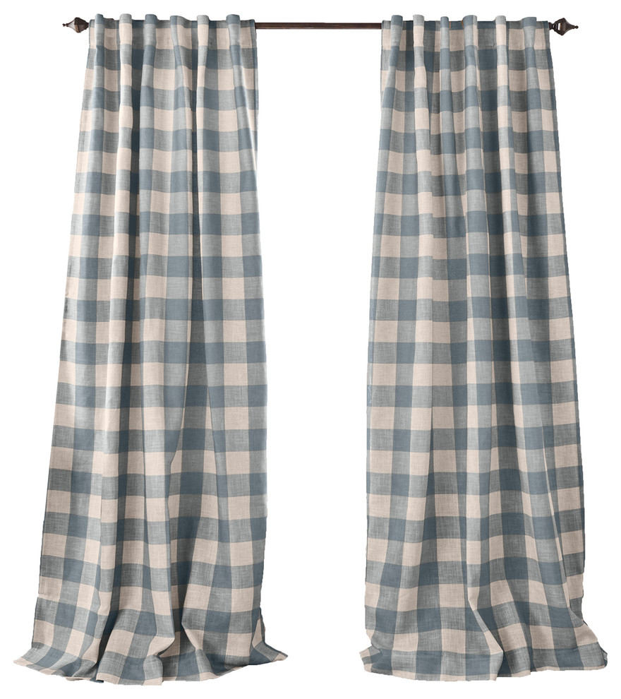 """Grainger Buffalo Check Blackout Window Curtain, Chambray, 52""""x84"""" For Most Recently Released Grainger Buffalo Check Blackout Window Curtains (View 3 of 20)"""