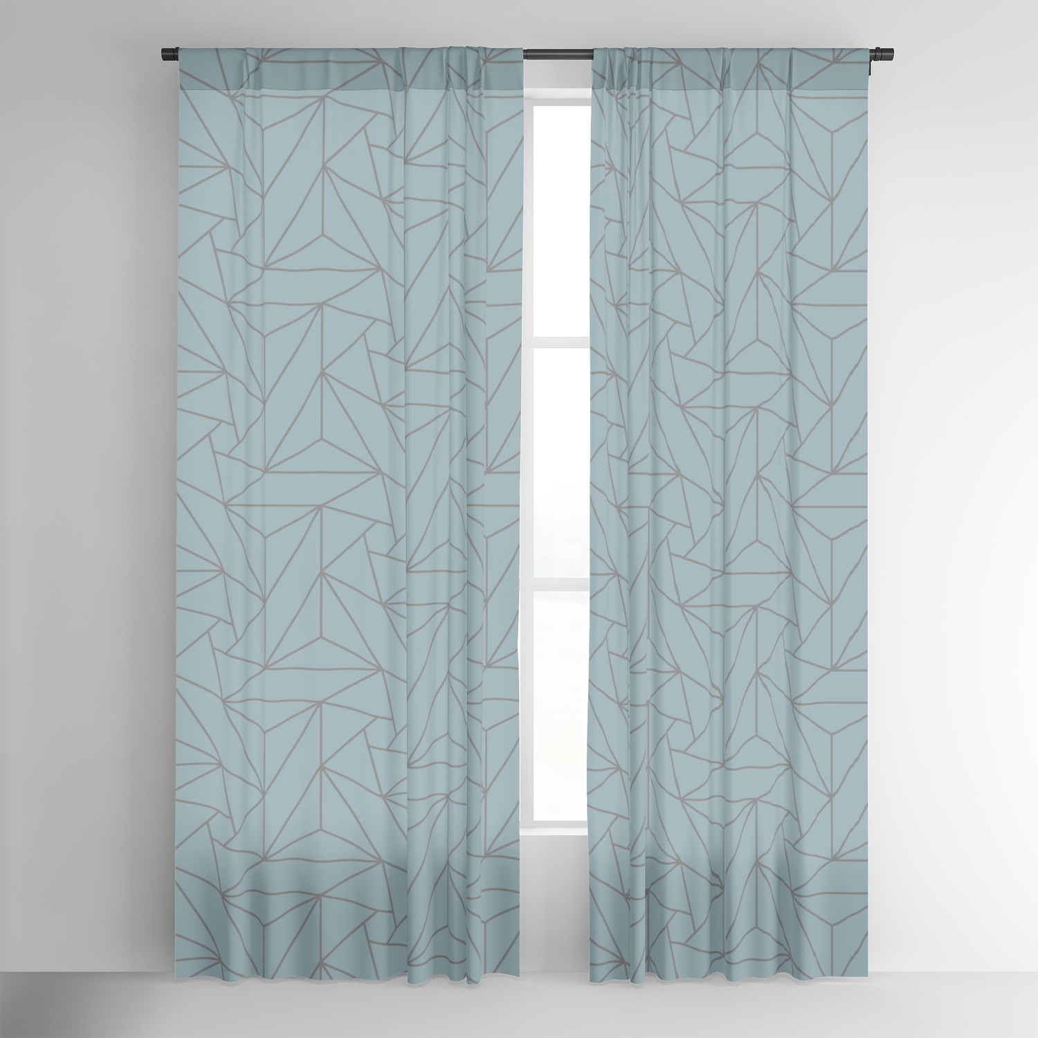 Gray & Pastel Blue Abstract Triangle Geometric Mosaic Shape Pattern Pairs To 2020 Color Of The Year Blackout Curtainpipafineart Regarding Most Popular Abstract Blackout Curtain Panel Pairs (View 12 of 20)