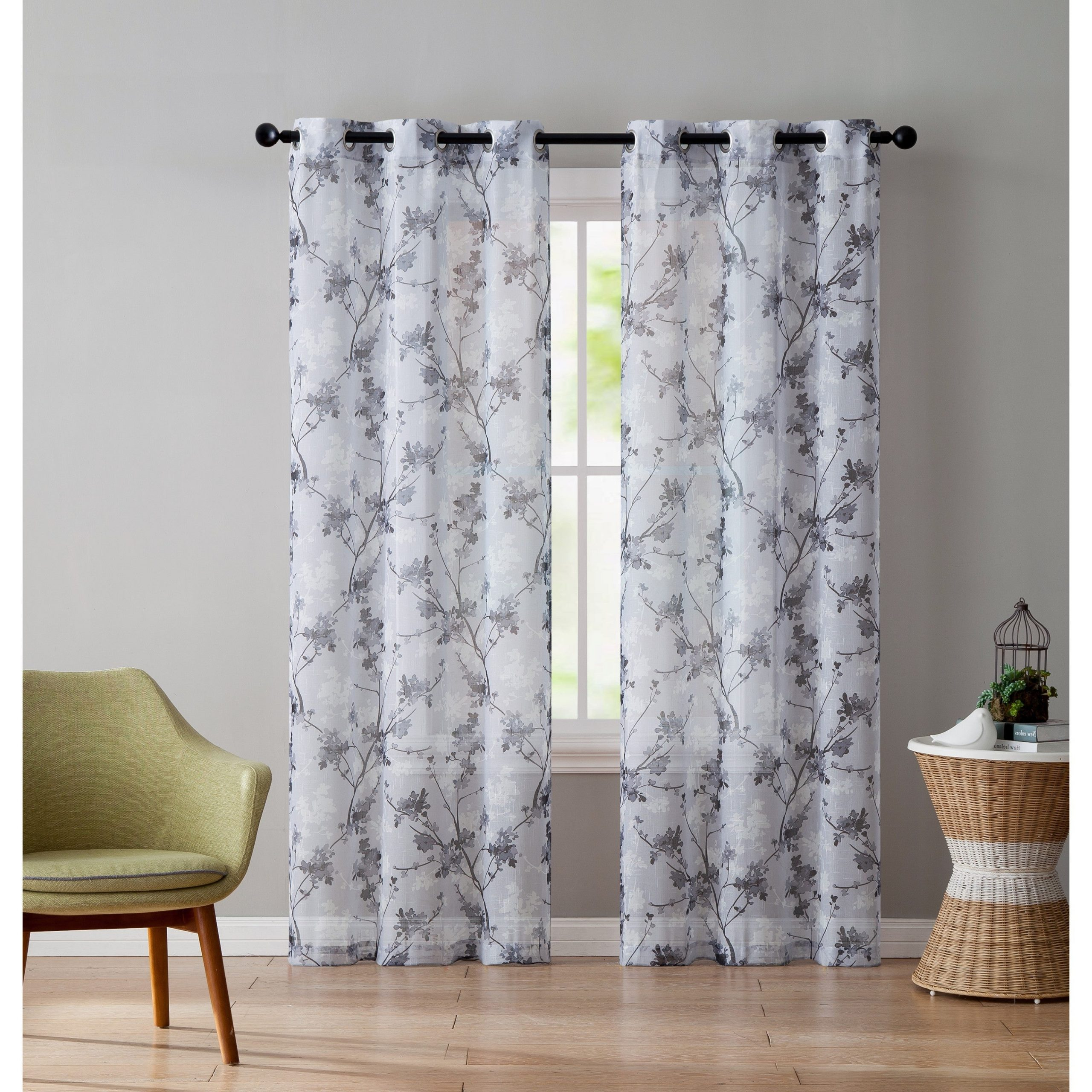 Grey Printed Curtain Panels Intended For Most Recent Vcny Home Jasmine Panel Pair (View 5 of 20)