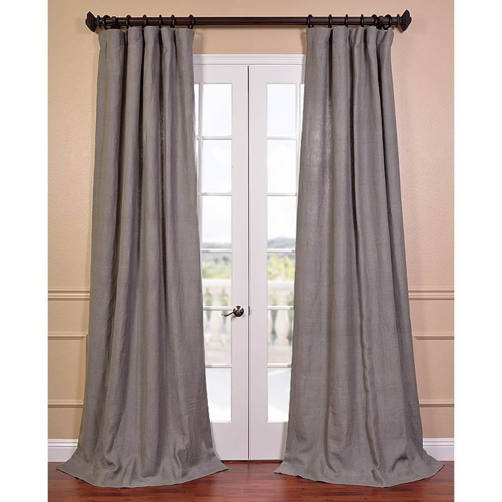 Grigio Grey French Linen Lined Curtain Panel 84L Grey Regarding 2020 French Linen Lined Curtain Panels (View 12 of 20)