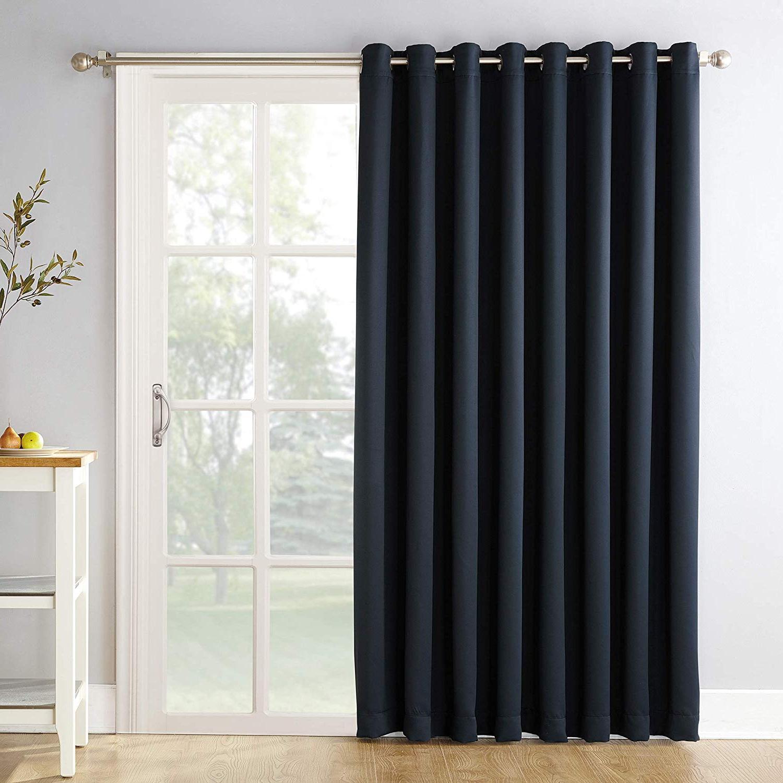 """Grommet Blackout Patio Door Window Curtain Panels For Recent Sun Zero Easton Extra Wide Blackout Sliding Patio Door Curtain Panel With Pull Wand, 100"""" X 84"""", Navy Blue (View 2 of 20)"""