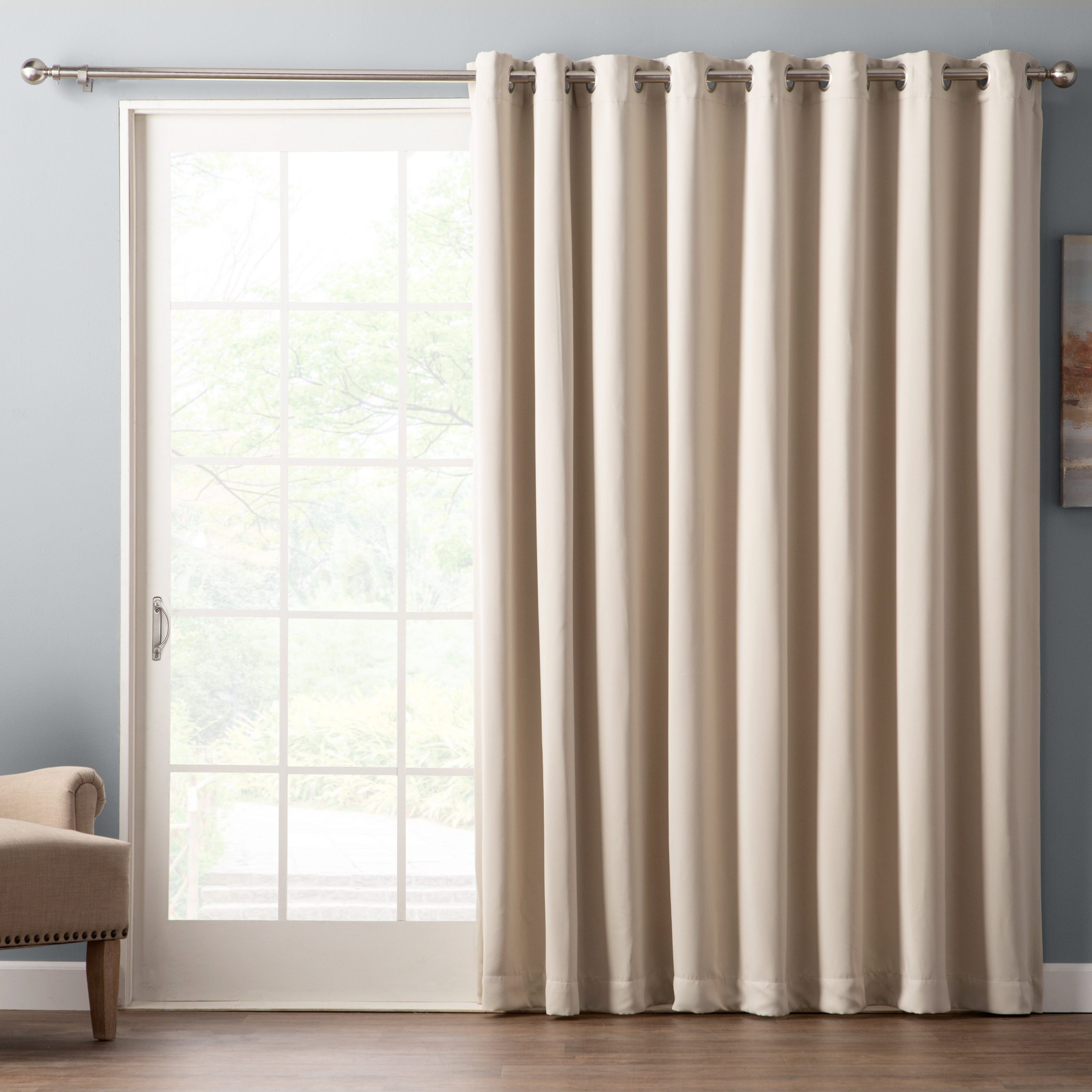 Grommet Blackout Patio Door Window Curtain Panels In Current Wayfair Basics Solid Blackout Grommet Single Patio Curtain (View 9 of 20)