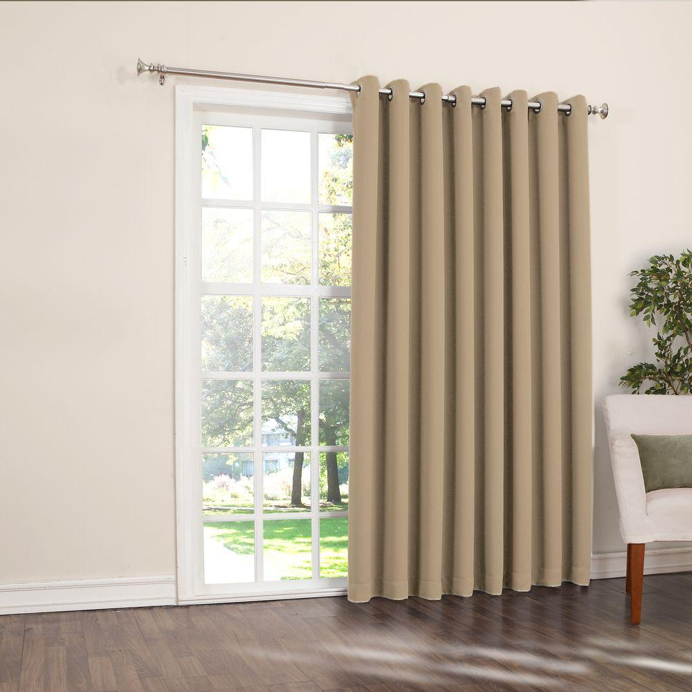 Grommet Blackout Patio Door Window Curtain Panels Throughout Preferred Sun Zero Semi Opaque Taupe Gregory Room Darkening Grommet (View 13 of 20)