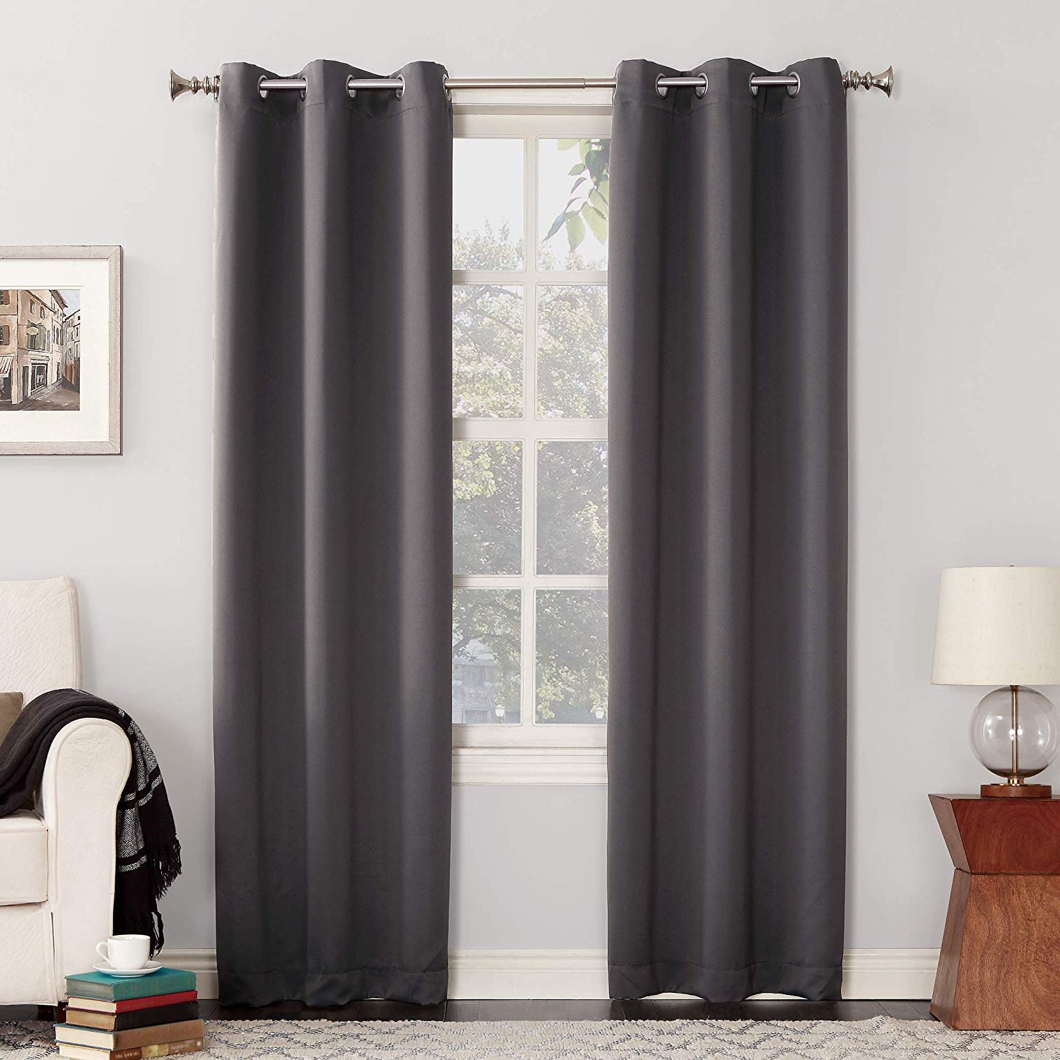 """Grommet Curtain Panels Throughout Well Known Sun Zero Easton Blackout Energy Efficient Grommet Curtain Panel, 40"""" X 84"""", Charcoal Gray (View 19 of 20)"""