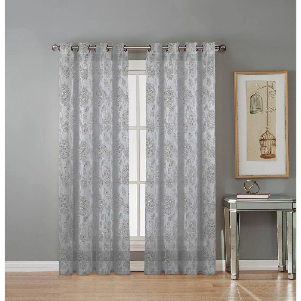Grommet Curtain Panels Within Well Known Window Elements Sheer Avery Cotton Blend Burnout Sheer Extra Wide 84 In (View 6 of 20)